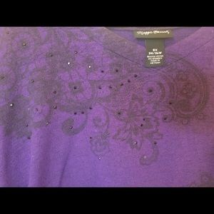 Purple blouse with handkerchief hem